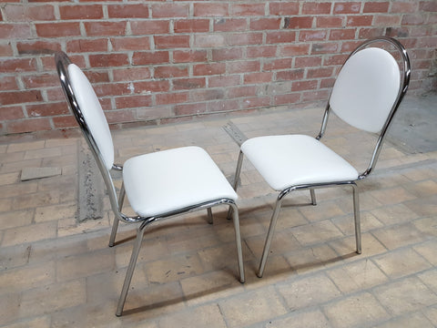 Pair of Contemporary Mid Century Chrome White Vintage Retro Kitchen Side Chairs