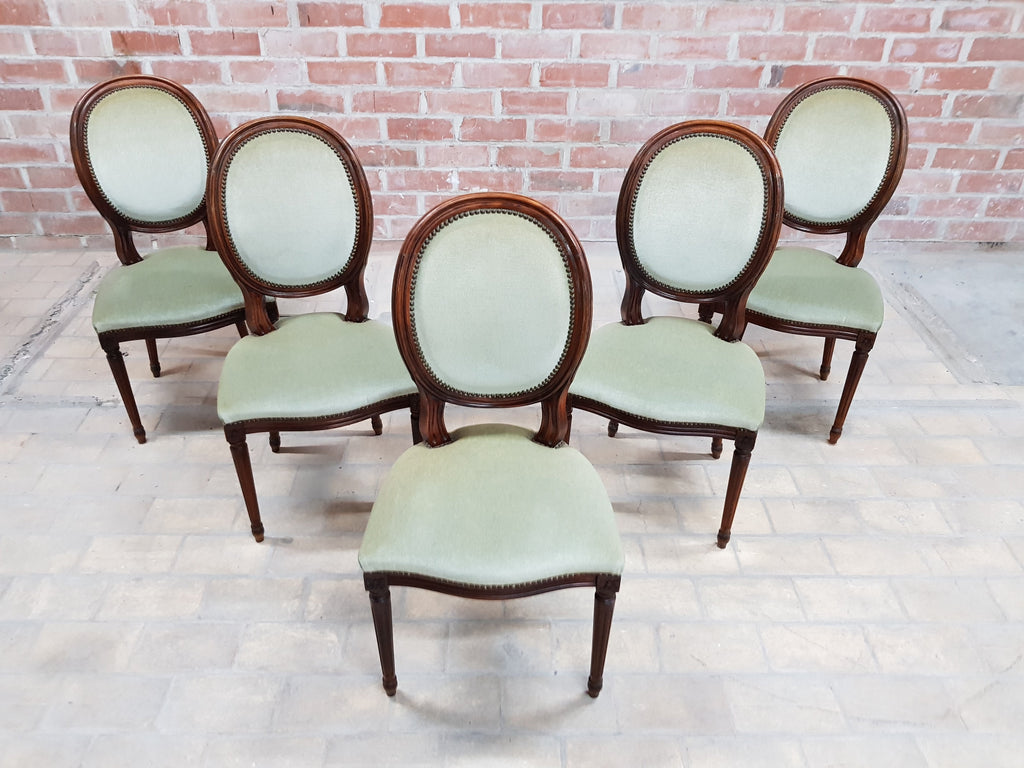 Chairs 1900-1950 Set Of 5 Louis Xvi Style French Medallion Mint Green Velvet Dining Chairs