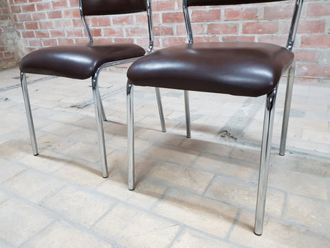 Image of Pair of Contemporary Mid Century Chrome Brown Vintage Retro Kitchen Side Chairs