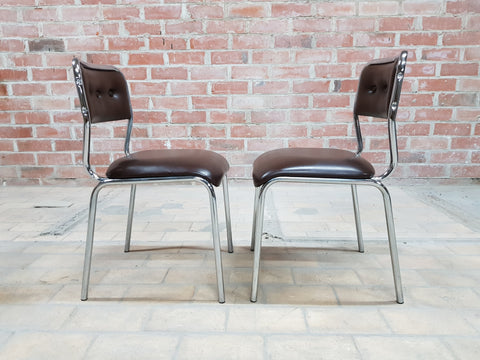 Pair of Contemporary Mid Century Chrome Brown Vintage Retro Kitchen Side Chairs