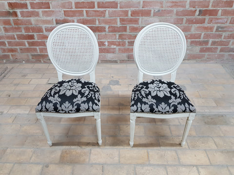 Pair of Vintage French Louis XVI Newly Upholstered Cane Back White Accent Chairs