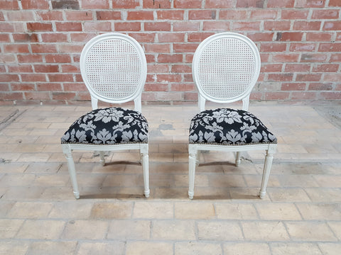 Image of Pair of Vintage French Louis XVI Newly Upholstered Cane Back White Accent Chairs