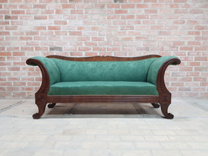 Simply Gorgeous Antique Swedish Biedermeier Sofa Green Upholstery early 1900s