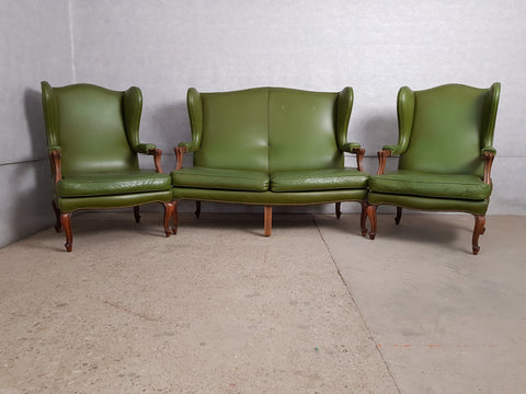 Vintage Mid 20th. c. Queen Anne Style Green Faux Leather Wing Sofa and 2 Wing Chairs