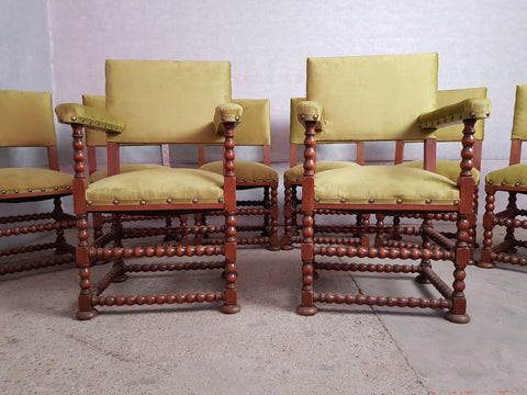 Set of 8 Jacobean Style Barley Twist Dining Chairs Reupholstered 2 Armchairs 4 Side Chairs