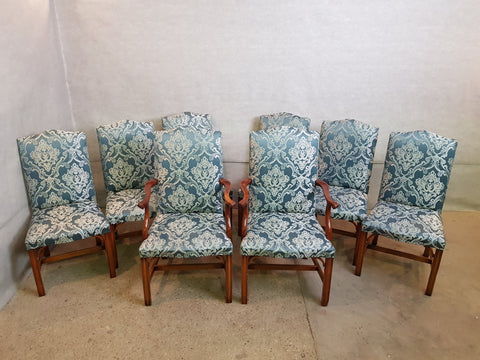 Set of 8 Vintage Jacobean Style Mid 1950s Reupholstered Oak Dining Chairs 2 Armchairs 4 Side chairs