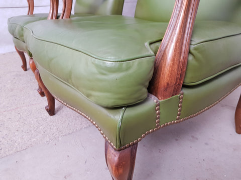 Vintage Mid 20th. c. Queen Anne Style Faux Leather Wing Sofa and 2 Wing Armchairs Suite