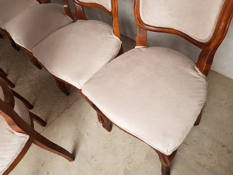 Set of 10 Early 20th c. Louis XV Style Oak Dining Chairs Newly Upholstered