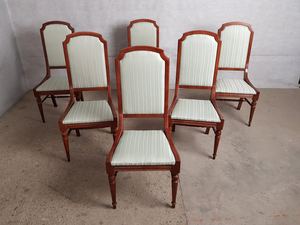 Set of 6 Louis XVI Style High Back Reupholstered French Dining Chairs, 1950s