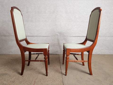 Image of Set of 6 Louis XVI Style High Back Reupholstered French Dining Chairs, 1950s