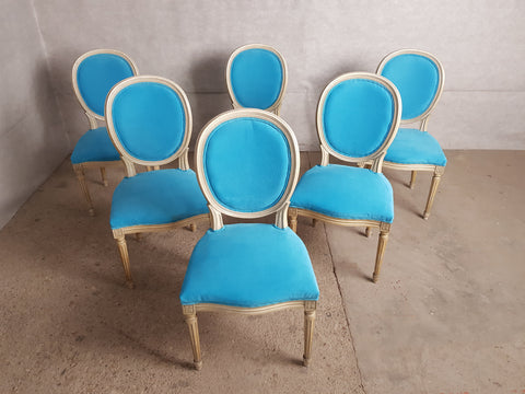 Image of Set of 6 Vintage French Reupholstered Blue Turquoise Louis XVI Medallion Dining Chairs