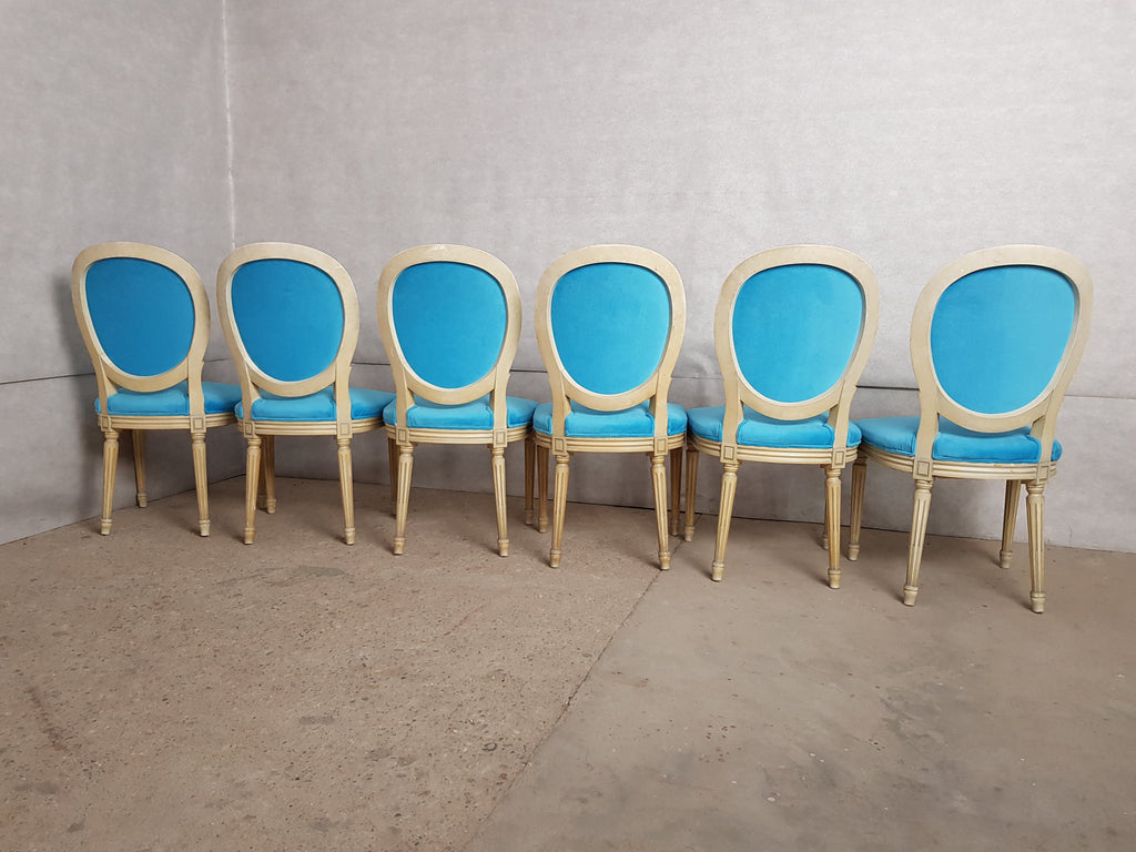 Set of 6 Vintage French Reupholstered Blue Turquoise Louis XVI Medallion Dining Chairs