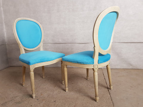 Image of Set of 6 Vintage French Reupholstered Baby Blue Louis XVI Medallion Dining Chairs