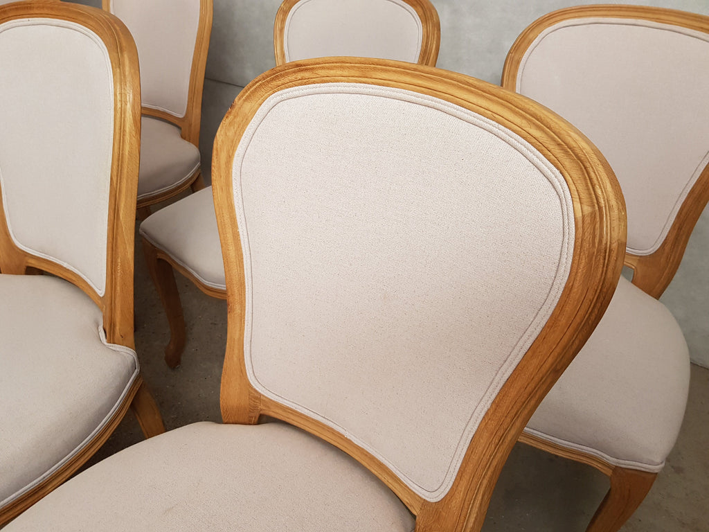 Set of 8 Louis XV French Natural Oak Dining Chairs Upholstered in Belgian Linen