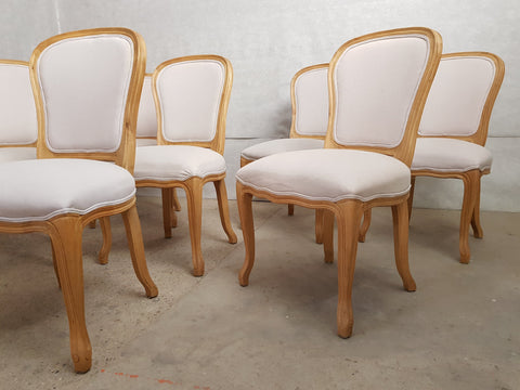 Image of Set of 8 Louis XV French Natural Oak Dining Room Chairs Upholstered in Belgian Linen
