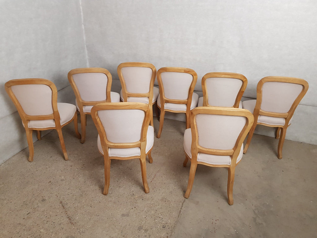 Set of 8 Louis XV French Natural Oak Dining Room Chairs Upholstered in Belgian Linen