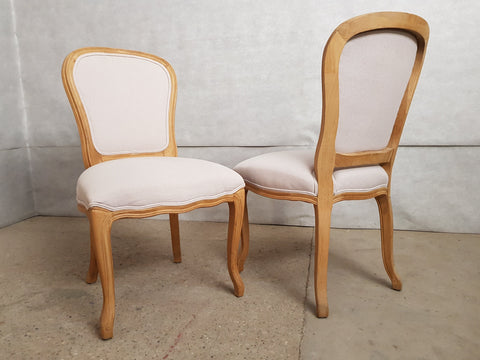 Image of Set of 8 Louis XV French Natural Oak Dining Chairs Upholstered in Belgian Linen