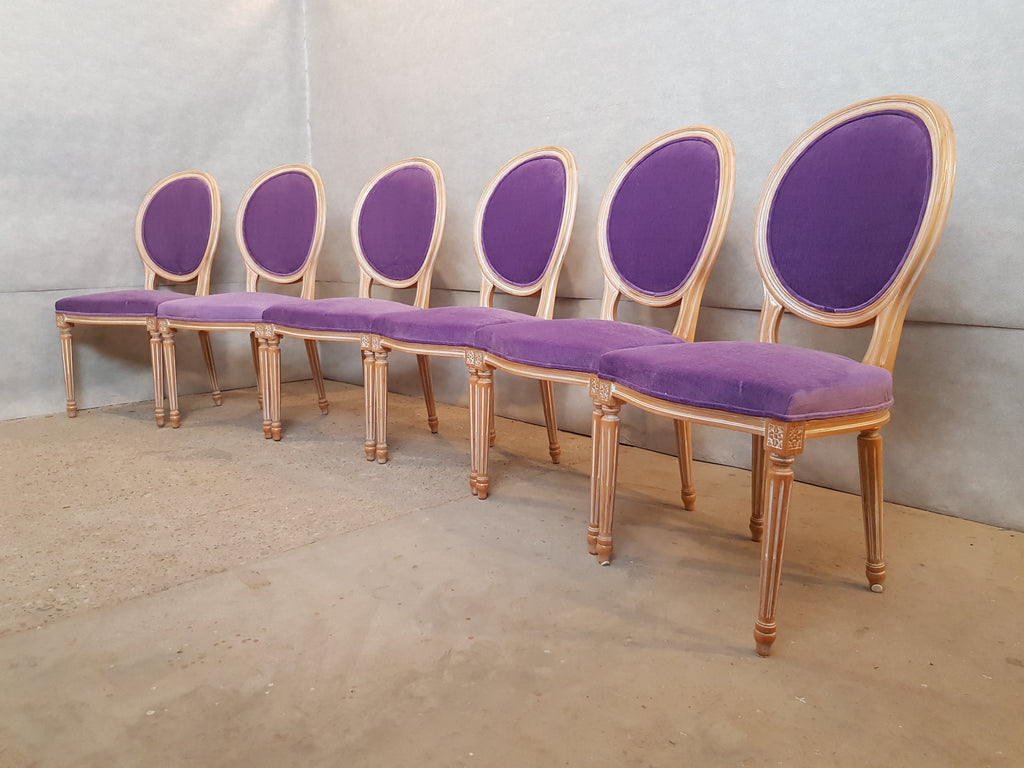 Set of 8 Louis XVI French Violet Velvet Medallion Dining Chairs 2 Armchairs 4 Side chairs