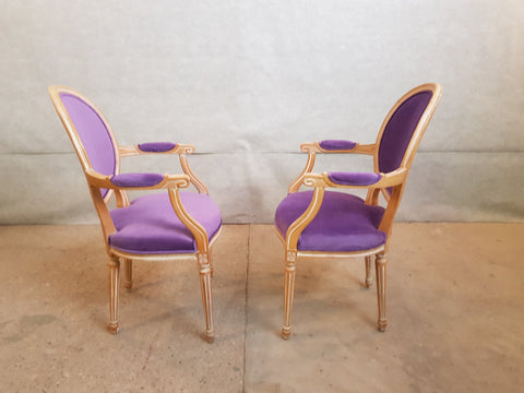 Image of Set of 8 Louis XVI French Violet Velvet Medallion Dining Chairs 2 Armchairs 4 Side chairs