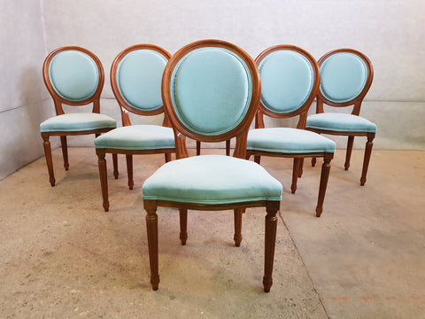 Set of 6 Louis XVI French Medallion Baby Blue Oak Dining Chairs