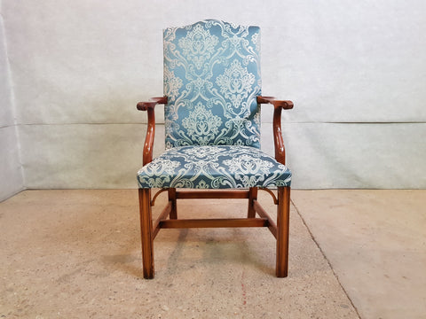 Set of 8 Vintage Jacobean Style Mid 1950s Reupholstered Oak Dining Chairs 2 Armchairs 6 Side chairs