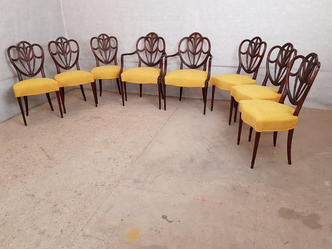 Set of 8 Vintage Hepplewhite Style Mahogany Shield Back Reupholstered Dining Chairs