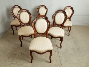 Set of 6 French Antique Louis XV Style Striped Gold Satin Medallion Dining Chairs