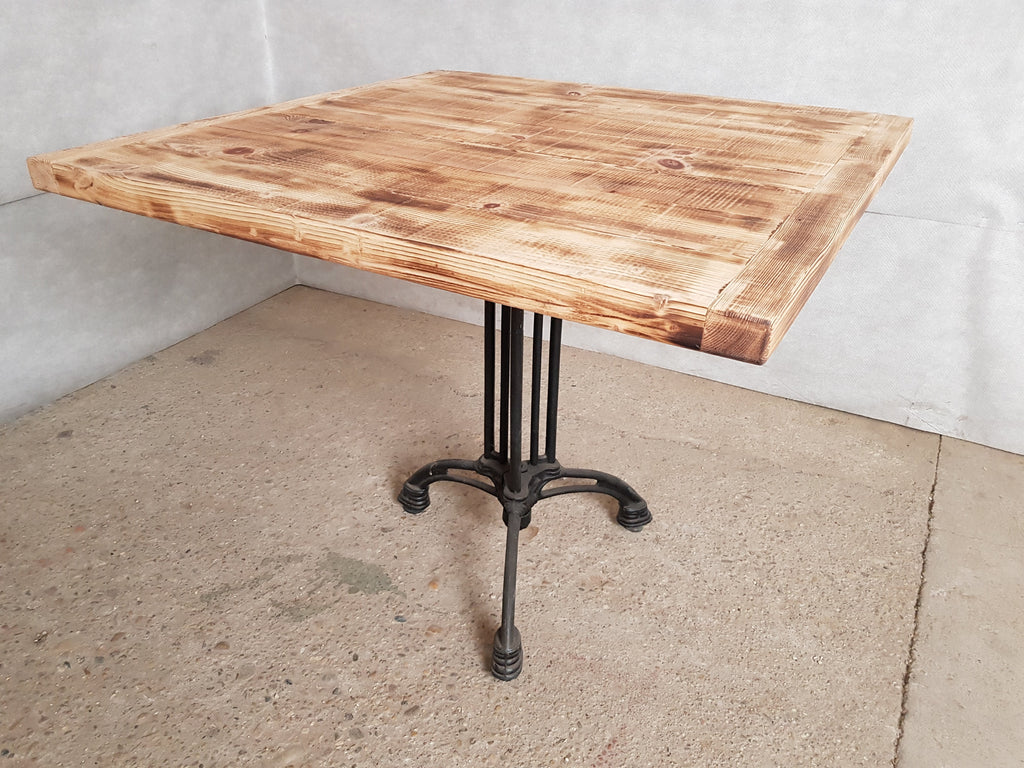 Square Industrial Bistro Dining Table Made from Reclaimed European Barnwood