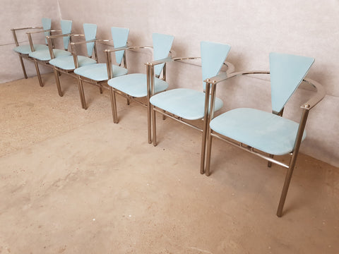 Set of 7 Unique Mid-Century Modernist Art Deco Style Italian Reupholstered Steel Dining Chairs