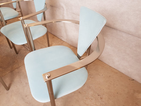 Set of 7 Mid-Century Modernist Art Deco Arrben Style Italian Reupholstered Steel Dining Chairs
