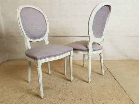 Set of 6 Louis XVI French Medallion Dove Gray Reupholstered Dining Chairs 2 Armchairs 4 Side chairs
