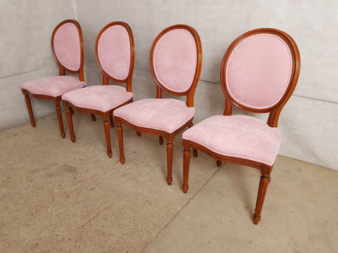 Set of 4 French early 20th c. Louis XVI Style Shabby Chic Reupholstered Pink Medallion Dining Chairs