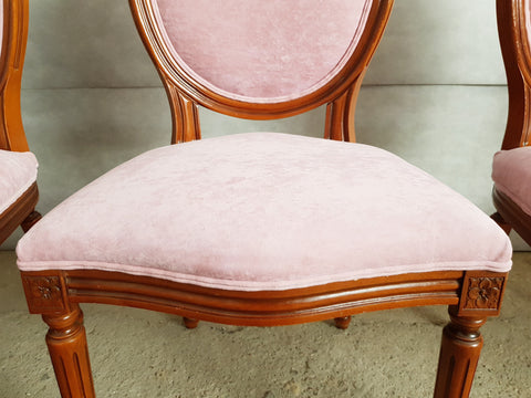 Set of 4 French early 20th c. Louis XVI Style Reupholstered Pink Medallion Dining Chairs