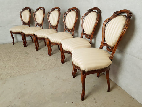 Set of 6 French Antique Louis XV Style Gold Satin Carved Medallion Dining Chairs