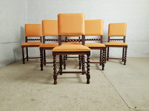 Set of 6 Vintage Jacobean Style Barley Twist Reupholstered Dining Chairs
