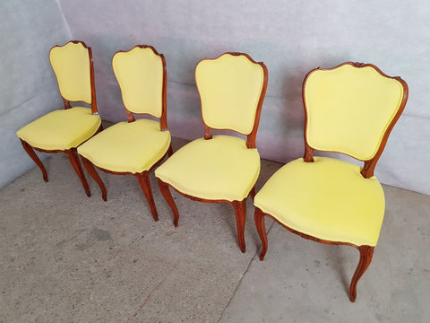 Set of 4 Vintage French Louis XV Style Reupholstered Royal Yellow Alcantara Dining Chairs