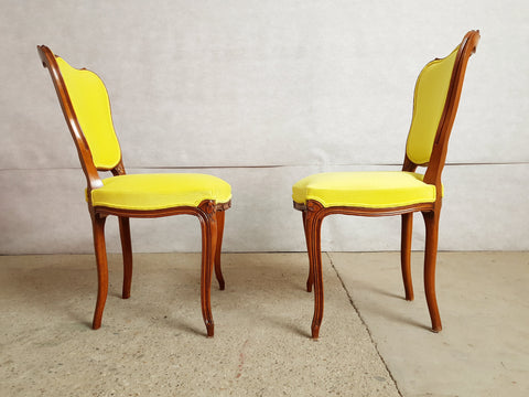 Image of Set of 4 Vintage French Louis XV Style Reupholstered Royal Yellow Alcantara Dining Chairs