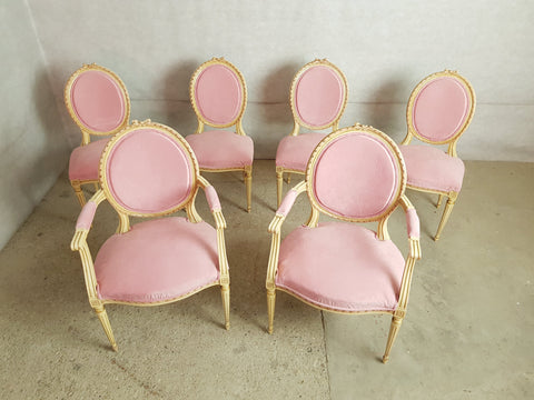 Set of 6 Antique French Shabby Chic Louis XVI Style Pink Dining Chairs 2 Armchairs 4 Side Chairs