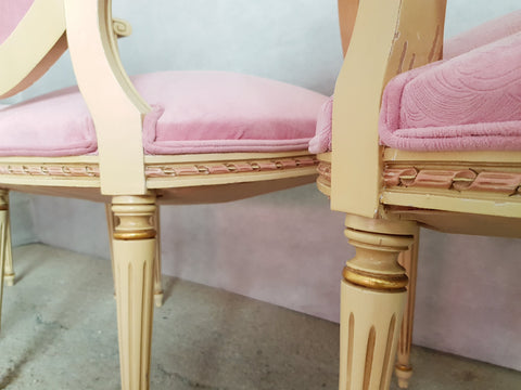 Set of 6 Antique French Louis XVI Restored in Pink Dining Chairs 2 Armchairs 4 Side Chairs