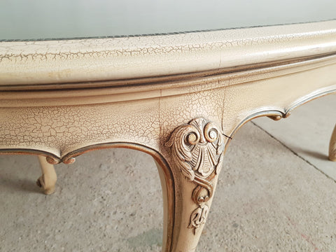 Vintage Mid 20th c. French Provincial Louis XV Style 8 Seat Dining Table Set
