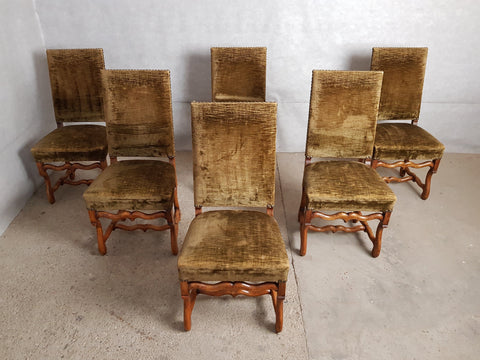 Vintage Set of 6 French High Back Louis XIII Style Dining Chairs