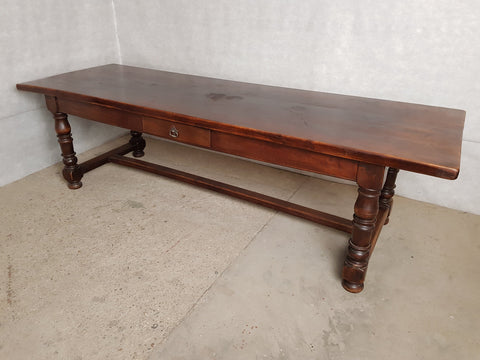 Long Oak Antique French Country Massive Trestle Dining Table 3 Drawers Great Patina