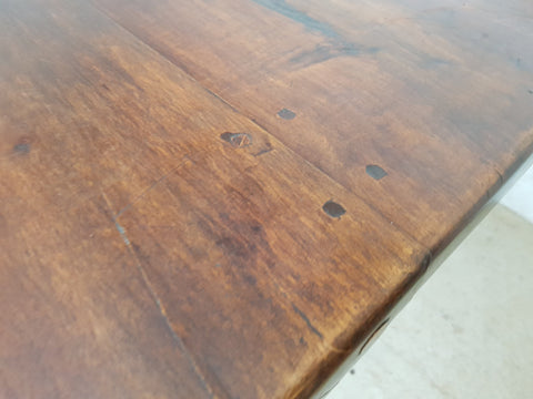 Image of Long Oak Antique French Country Massive Trestle Dining Table 3 Drawers Great Patina