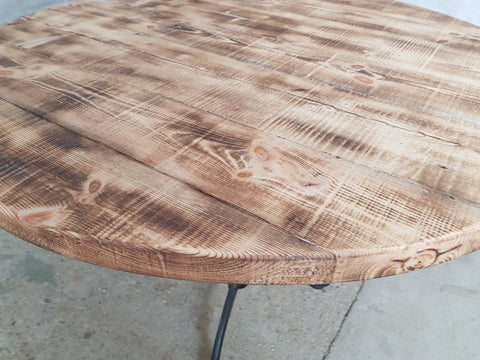 Image of Round Industrial Dining Bistro Table Made from Reclaimed European Barnwood