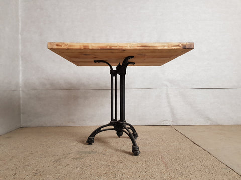 Image of Square Industrial Bistro Dining Table Made from Reclaimed European Barnwood