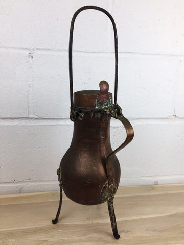 Image of Rare Antique French Coffee Pot Tea Kettle with Hinged Lid Three Legged