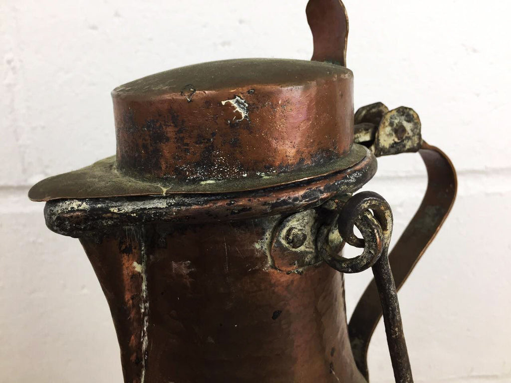 Rare Antique French Coffee Pot Tea Kettle with Hinged Lid Three Legged