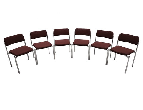 Image of Vintage Mid Century Danish Chrome Dining Room Chairs - Set of 6