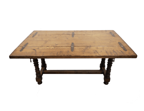 Image of Unique Massive Solid Oak Alpine Swiss Folding Dining Table Console