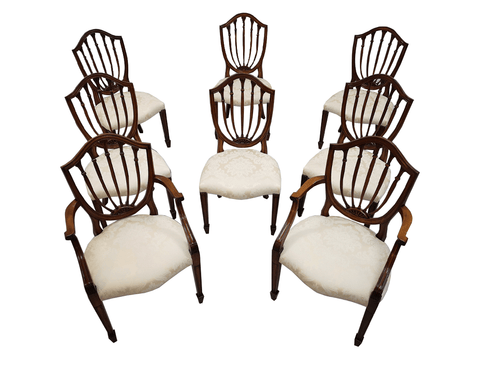 Gorgeous Set of 8 Vintage French Shield Back Dining Chairs